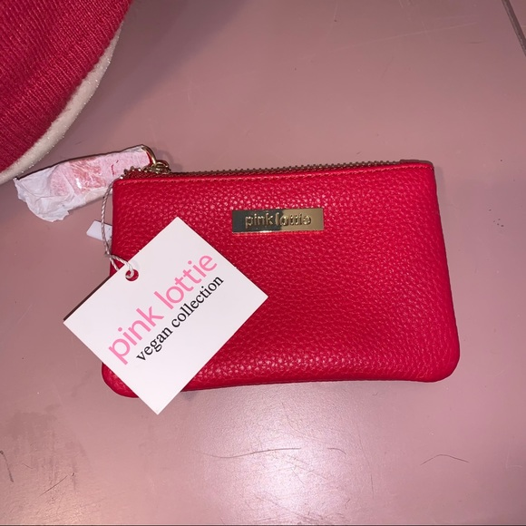 NWT Pink Lottie Vegan Leather Red Change Pouch
